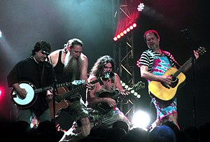 "Hayseed Dixie - Hayseed Dixie at the Cambridge Folk Festival, 30 July 2017 - left to right: Tim Carter, Jake ""Bakesnake"" Byers, Hippy Joe Hymas, John Wheeler"