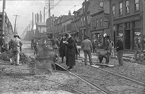 Hazelwood (Pittsburgh) - Construction at Second and Greenfield Avenues, Hazelwood, 1906