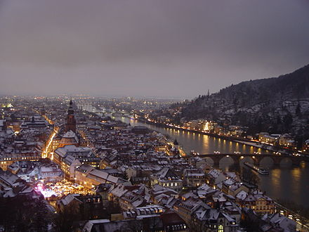 View from the castle during winter, 2014 Heidelberg winter.jpg