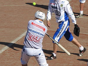Pesäpallo - Batter hitting the ball.