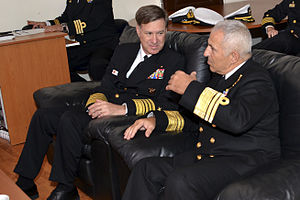 Evangelos Apostolakis - Apostolakis (right) as Chief of the Hellenic Navy General Staff with the Commander, United States Naval Forces Europe, Admiral Mark E. Ferguson III, in 2014