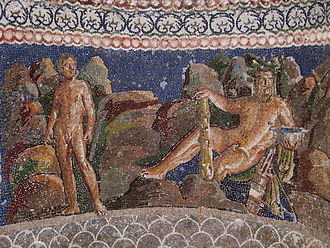 Iolaus - Heracles and his nephew, Iolaus. 1st century BC mosaic from the Anzio Nymphaeum, Rome