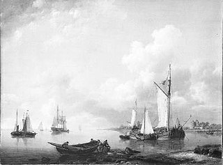 Calm river scene with ships