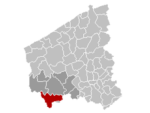 Vị trí của Heuvelland in West Flanders