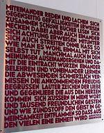 """Text """"Miteinander reden"""" aus Augustinus' Bekenntnissen (Schrifttafel im Augustinum Hamburg) (Quelle: Wikimedia)"""