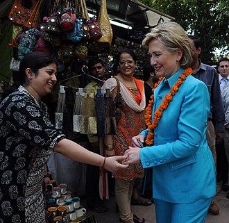 Dilli Haat - Hillary Clinton, visiting Dilli Haat, New Delhi, 2009.