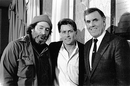 Homeless Advocate Mitch Snyder, Actor Martin Sheen, Boston Mayor Raymond L. Flynn Homeless Advocate Mitch Snyder, Actor Martin Sheen, Mayor Raymond L. Flynn 1987.jpg
