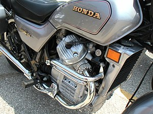 V-twin engine - Honda GL500 Silver Wing with a longitudinally mounted V-twin.