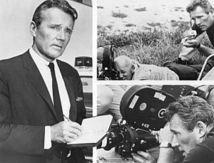 Howard Duff - Publicity photo of Howard Duff, working in front of the camera and behind the scenes, for the television program Felony Squad