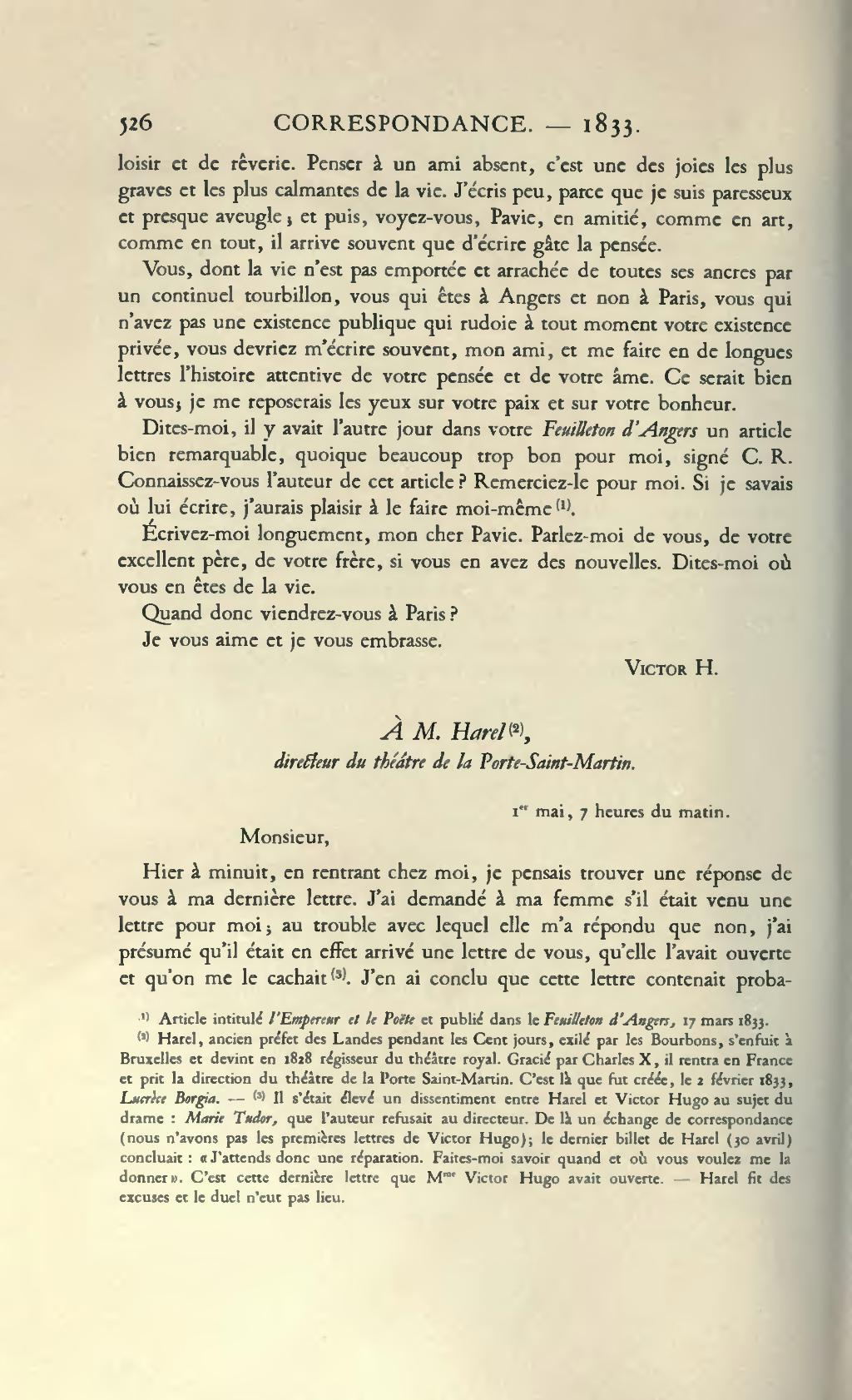 Page Hugo œuvres Completes Impr Nat Correspondance Tome I