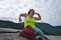 Human wiggling on the first peak of Stawamus Chief (DSCF7704).jpg