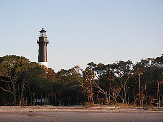 Hunting Island State Park - The Hunting Island lighthouse from beach