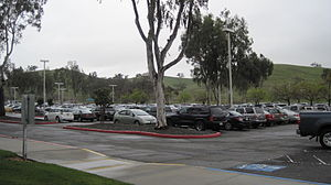 The employee parking lot on the campus of the ...