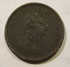 1805 in Ireland - 1805 Irish penny, bearing George III's portrait.