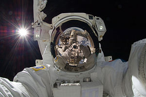 Akihiko Hoshide - Hoshide taking a space selfie during extravehicular activity (EVA) on September 5, 2012, with the Sun behind him.
