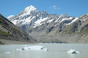 Hooker Valley Track - Icebergs floating in Hooker Lake in summer