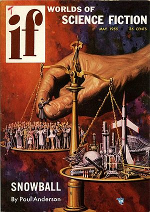"If (magazine) - May 1955 issue of If. The cover is by Kenneth S. Fagg, and is titled ""Technocracy Versus the Humanities""."
