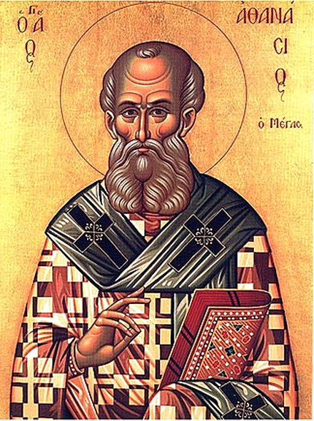 St. Athanasius, depicted with a book, an iconographic symbol of the importance of his writings. Sainta15.jpg