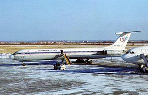 Yakutsk Airport - Domodedovo Airlines Ilyushin Il-62M parked at Yakutsk Airport in 1998.
