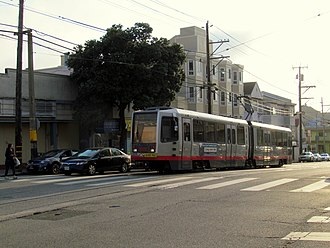Taraval and 17th Avenue station - Inbound train at Taraval and 17th Avenue in September 2017