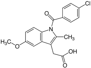 Strukturformel von Indometacin