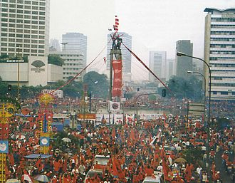 Indonesian legislative election, 1999 - Members of PDI–P rally at the Hotel Indonesia Roundabout during the campaign period