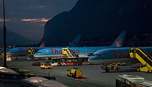 Innsbruck Airport with Thomson airplanes.jpg