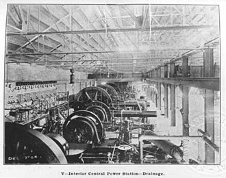 Drainage in New Orleans - The central power plant for the pumping stations of the New Orleans drainage system, 1904