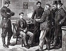 Tapa del periódico del interrogatorio Émile Henry por la policía.