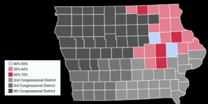 Rod Blum - Map showing the results of the 2016 election in Iowa's First congressional district by County