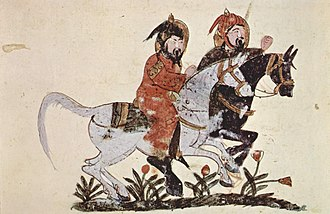 1210s in art - A scene from the book of Ahmad ibn al-Husayn ibn al-Ahnaf, showing two galloping horsemen by an Iraqi painter, 1210