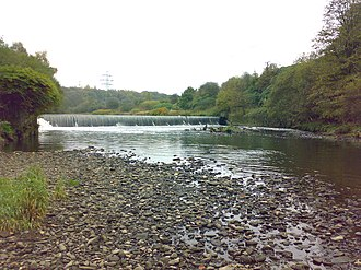 Radcliffe, Greater Manchester - The weir to the west of the town at Ladyshore, built to supply Lever Bank Bleach Works with water. It collapsed in June 2012.