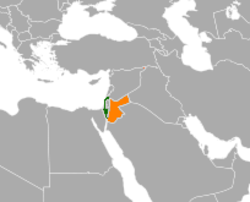 Map indicating locations of Israel and Jordan