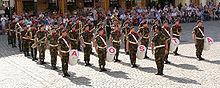 Uniformitaj grupanoj eltenante en formacio, la grupgvidanton antaŭaj.