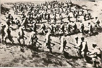 Battle of Tripoli (1911) - Italian Navy landing companies landing on the beach of Tripoli