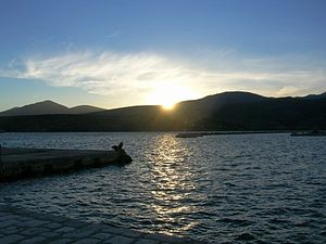 Itea, Phocis - Sunset from a dock in Itea, Greece.