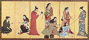 Kimono - Kosode, the undershirt transformed into outer garment after Muromachi period. (Matsuura byobu, 17th century)