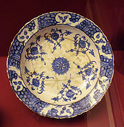 Iznik pottery with foliate rim 16th century
