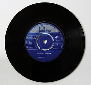 "Hootenanny Singers - B side of 45-RPM record with ""Ave Maria No Morro."""