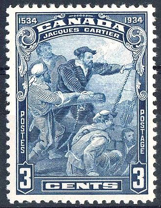 Name of Canada - A 1934 three-cent stamp commemorated the four-hundredth anniversary of the discovery of Canada by the French navigator, Jacques Cartier.