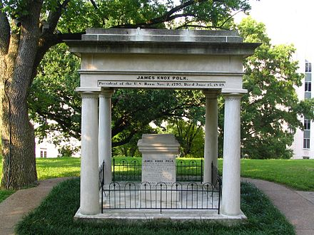 James K. Polk's tomb lies on the grounds of the Tennessee State Capitol James Polk Grave.jpg