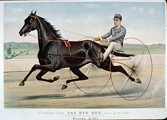 Jerome Case - Currier and Ives print of Jay-Eye-See setting the trotting record in 1884