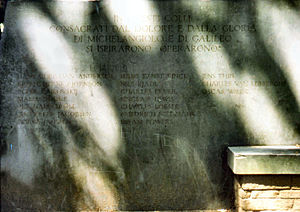 Jens Thiis - Monument to honorary citizens of Florence. Jens Thiis listed at the right side.