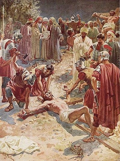 Jesus spikas fast på  korset