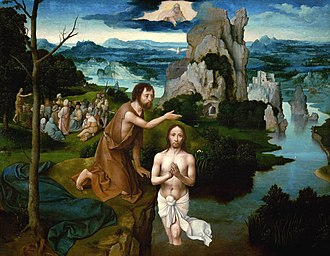 Joachim Patinir - Baptism of Christ, oil on oak, 59.5 × 77 cm, Kunsthistorisches Museum, Vienna
