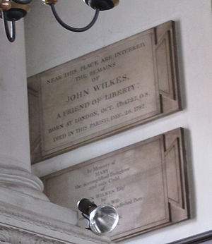 Grosvenor Chapel - John Wilkes' plaque (and his daughter Mary's, below), in the Chapel's upstairs gallery.