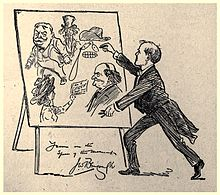 Cartoon drawing of a man drawing on an easel