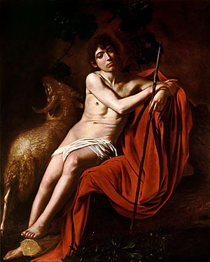 1610 in art - Image: John the Baptist (Galleria Borghese) Caravaggio (1610)