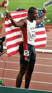 Justin Gatlin after winning the 100 m event at the 2005 IAAF World Championships