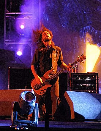 Bassist Justin Chancellor performing at 2006's Roskilde Festival Justin chancellor tool roskilde festival 2006 cropped.jpg